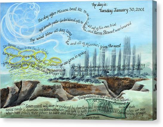 George W. Bush Canvas Print - Tuesday January 30 2001 by Carolyn Coffey Wallace