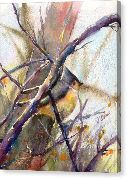 Tuffed Titmouse 2 Canvas Print by Elizabeth Evans