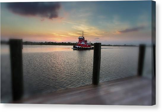 Tug Boat Sunset Canvas Print