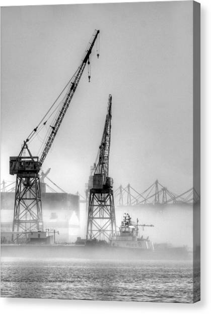 Tug With Cranes Canvas Print