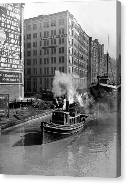 Tugboat Canvas Print - Tugboat In Chicago by Underwood Archives