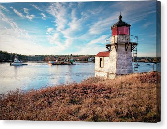 Tugboat, Squirrel Point Lighthouse Canvas Print
