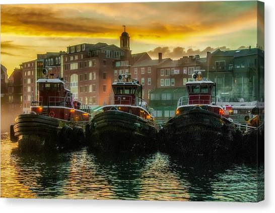 Tugboats In Portsmouth Harbor At Dawn Canvas Print