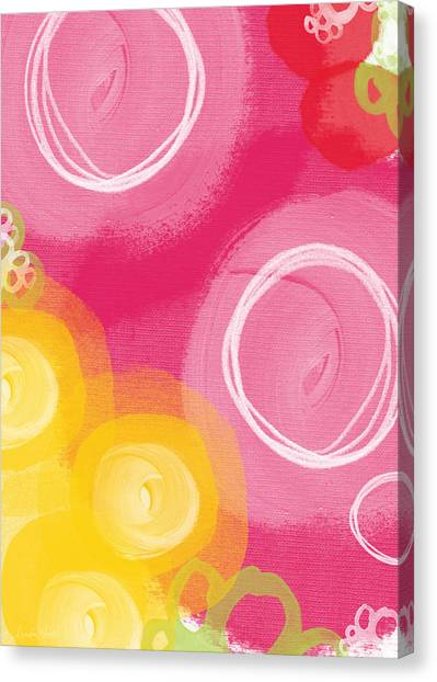 Yellow Tulips Canvas Print - Tulip Garden- Abstract Floral Painting by Linda Woods