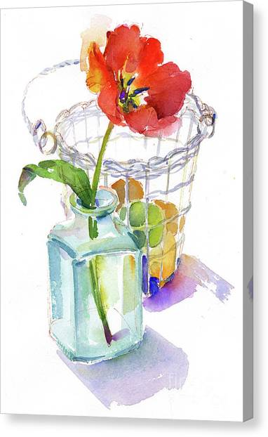 Easter Baskets Canvas Print - Tulip With Egg Basket by John Keeling