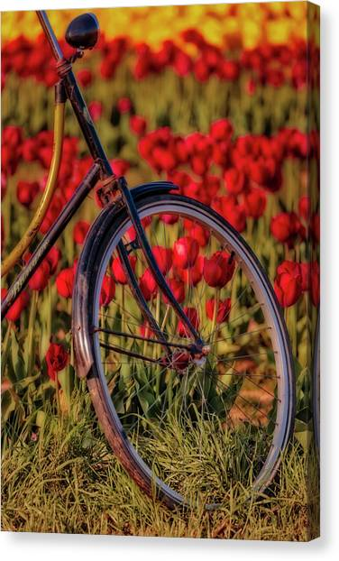 Canvas Print featuring the photograph Tulips And Bicycle by Susan Candelario