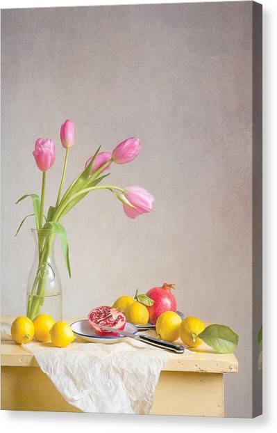 Tulips And Fruit Canvas Print