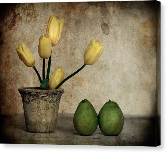 Tulips And Green Pears Canvas Print by Levin Rodriguez