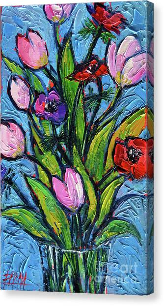 Post-modern Art Canvas Print - Tulips And Poppies - Impasto Palette Knife Oil Painting by Mona Edulesco