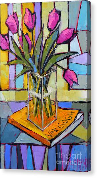 Post-modern Art Canvas Print - Tulips And Van Gogh - Abstract Still Life by Mona Edulesco