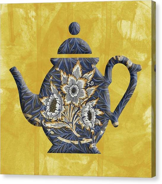 Tulips And Willow Pattern Teapot Canvas Print