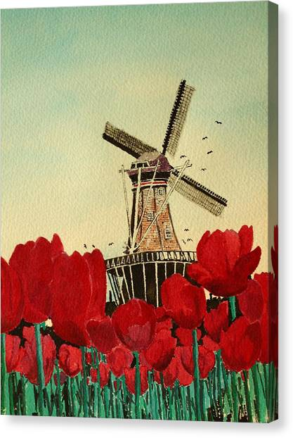 Tulips And Windmill Canvas Print