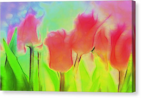 Tulips In Abstract 2 Canvas Print