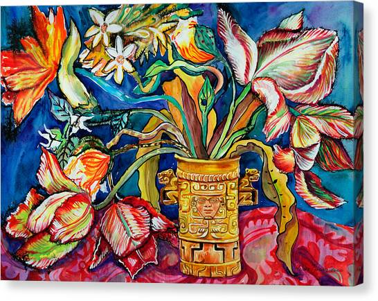 Tulips In Mexican Vase Canvas Print