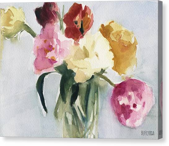 Tulips Canvas Print - Tulips In My Studio by Beverly Brown Prints