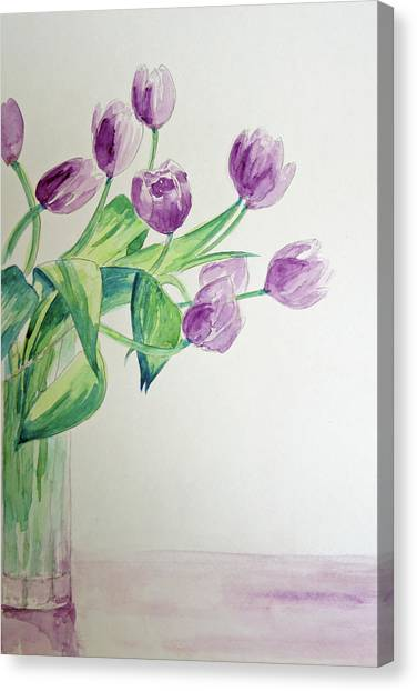 Tulips In Purple Canvas Print by Julie Lueders