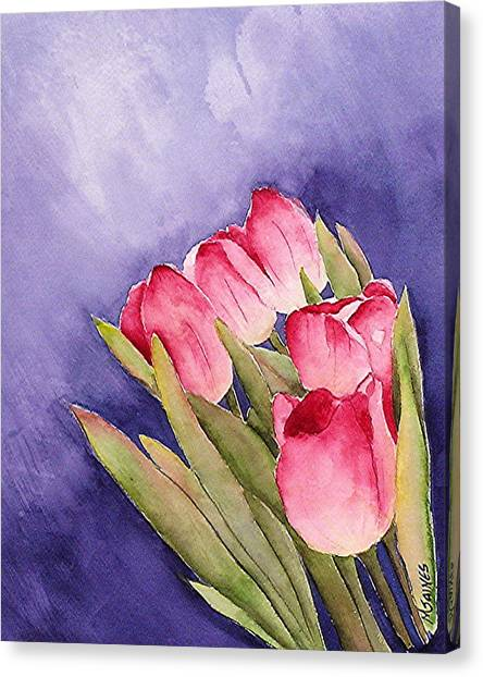 Tulips In The Wind Canvas Print by Mary Gaines