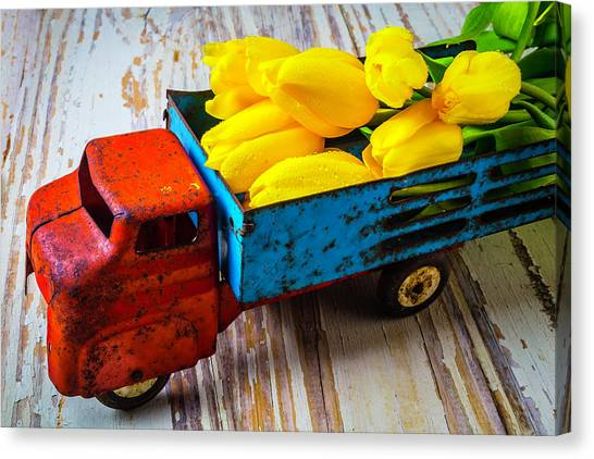 Rusty Truck Canvas Print - Tulips In Toy Truck by Garry Gay