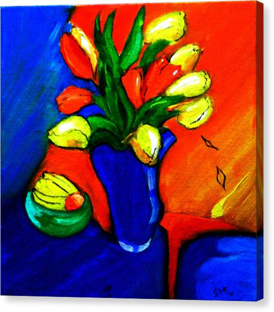 Tulips On My Table Canvas Print