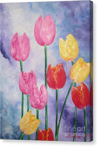 Ten  Simple  Tulips  Pink Red Yellow                                Flying Lamb Productions   Canvas Print
