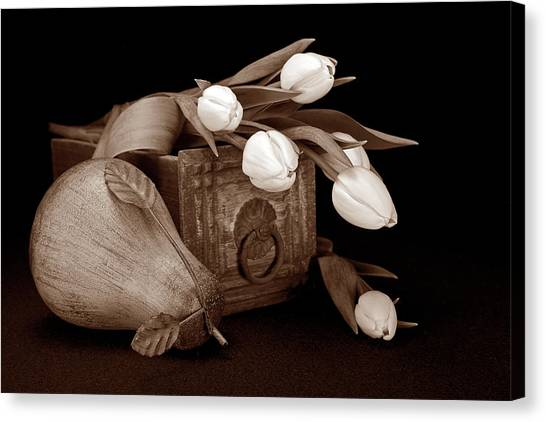 Drawers Canvas Print - Tulips With Pear II by Tom Mc Nemar