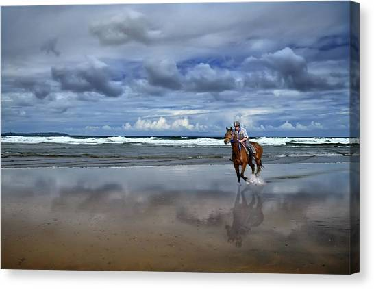 Tullan Strand - Horseriding In The Surf Canvas Print