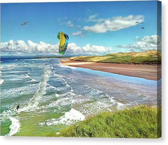 Tullan Strand - Surf, Blue Sky And A Kite Surfer Enjoying The Waves Canvas Print