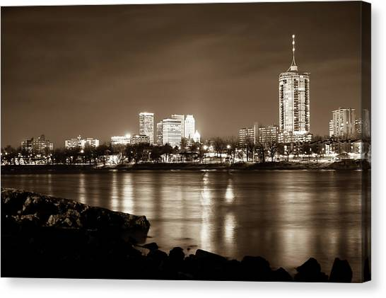 Oklahoma State University Canvas Print - Tulsa Downtown Skyline River View - Sepia Edition by Gregory Ballos