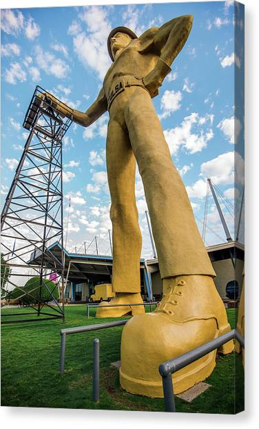 Canvas Print featuring the photograph Tulsa Golden Driller From Below by Gregory Ballos
