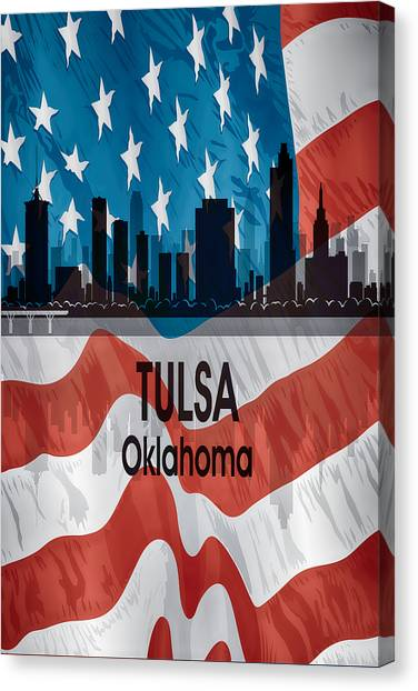 Ok Canvas Print - Tulsa Ok American Flag Vertical by Angelina Tamez