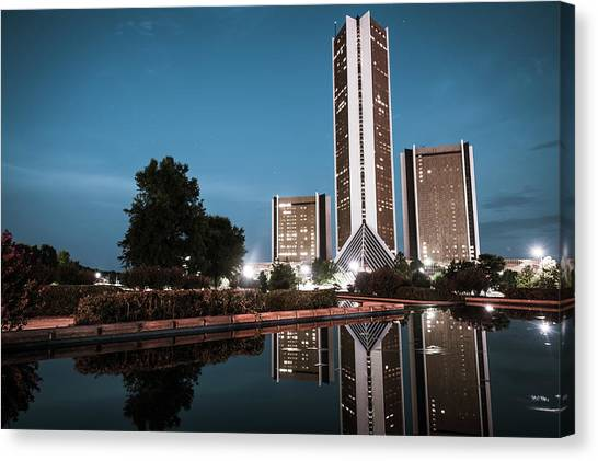 Oklahoma State University Canvas Print - Tulsa Oklahoma Cityplex Towers At Dusk by Gregory Ballos