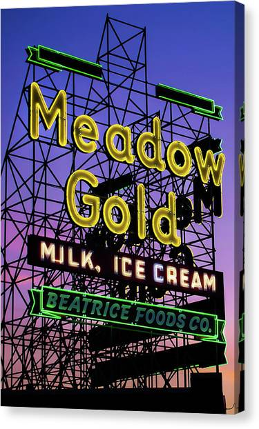 Canvas Print featuring the photograph Tulsa Oklahoma Meadow Gold Neon - Route 66 Photo Art by Gregory Ballos