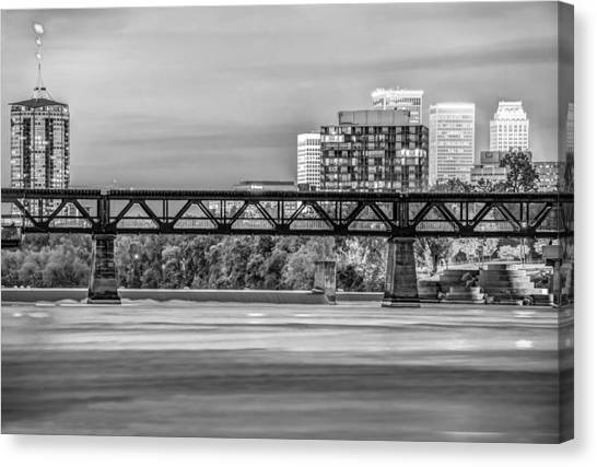 University Of Arkansas University Of Arkansas Canvas Print - Tulsa Oklahoma Skyline Over The Arkansas River Black And White by Gregory Ballos