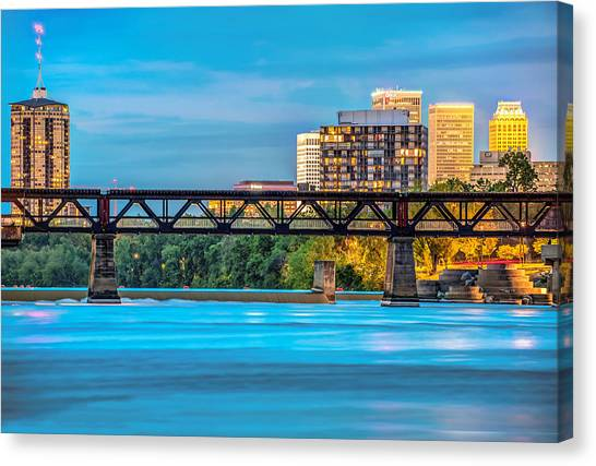 University Of Arkansas University Of Arkansas Canvas Print - Tulsa Oklahoma Skyline Over The Arkansas River by Gregory Ballos