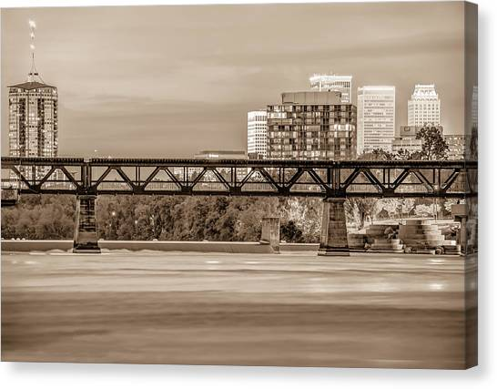 University Of Arkansas University Of Arkansas Canvas Print - Tulsa Oklahoma Skyline Over The Arkansas River Sepia by Gregory Ballos