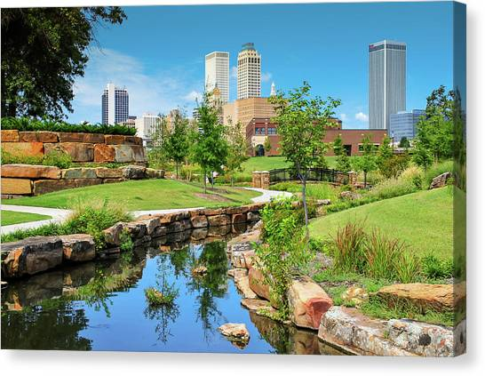 Tulsa Oklahomka Skyline View From Central Centennial Park Canvas Print