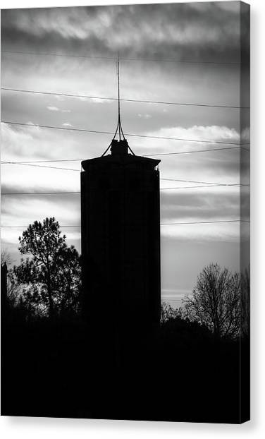 Oklahoma University Canvas Print - Tulsa Oklahoma University Tower Silhouette - Black And White by Gregory Ballos