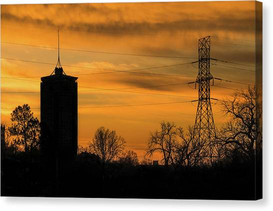 Oklahoma State University Canvas Print - Tulsa Silhouettes And Golden Skies - University Tower Morning  by Gregory Ballos