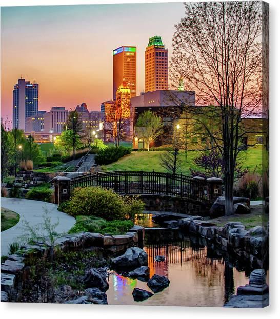 Centennial Canvas Print - Tulsa Skyline Park View by Gregory Ballos