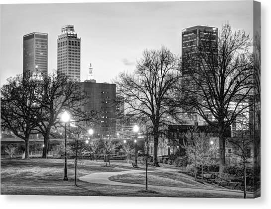 Centennial Canvas Print - Tulsa Through The Trees Black And White by Gregory Ballos