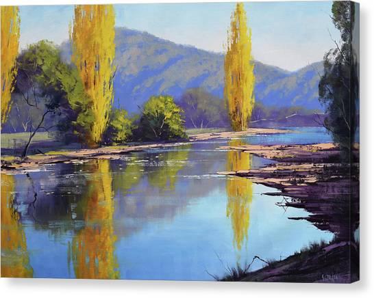 Autumn Scene Canvas Print - Tumut River Poplars by Graham Gercken