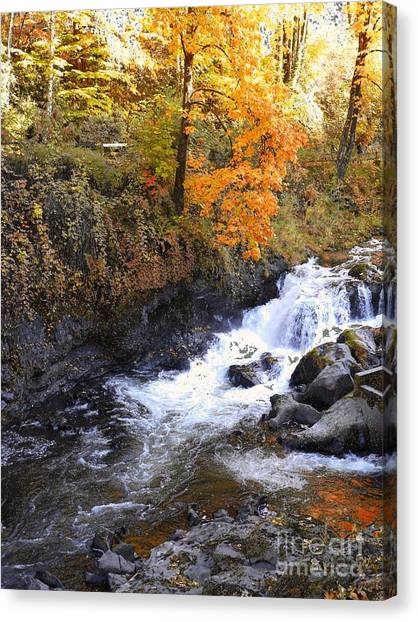 Tumwater Falls In The Autumn Canvas Print