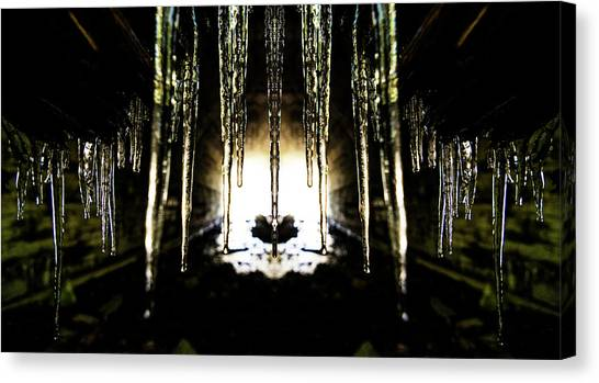 Stalactites Canvas Print - Tunnel Icicles Reflection by Pelo Blanco Photo
