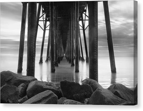 Pier Canvas Print - Tunnel Of Light - Black And White by Larry Marshall