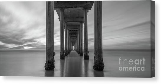 Scripps Pier Canvas Print - Tunnel Vision Bw  by Michael Ver Sprill