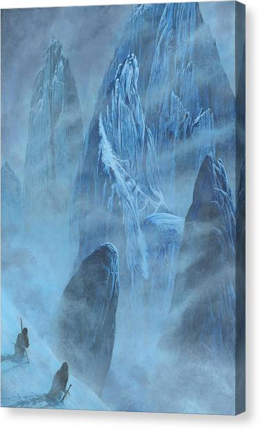 Canvas Print featuring the painting Tuor And Voronwe Approach Gondolin by Kip Rasmussen