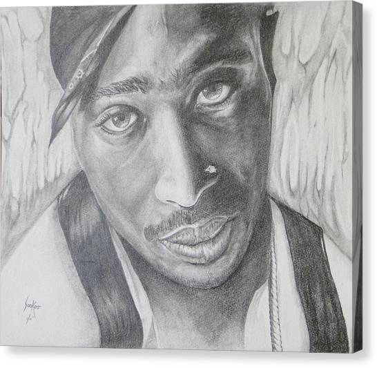 Tupac Shakur II Canvas Print by Stephen Sookoo