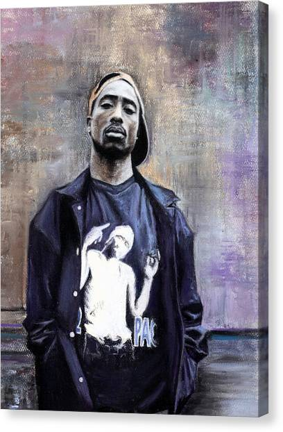 Hip Hop Canvas Print - Tupac Shakur by Raymond L Warfield jr