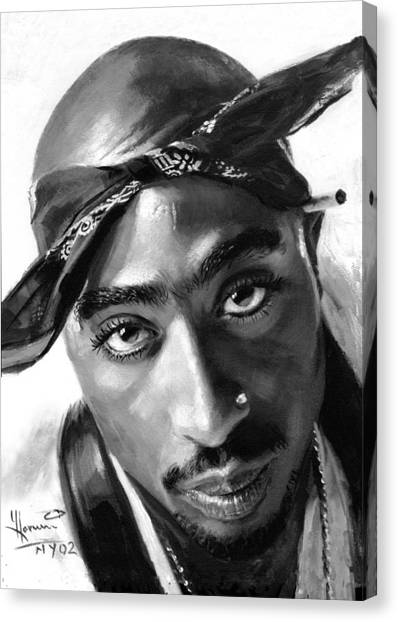 Hip Hop Canvas Print - Tupac Shakur by Ylli Haruni