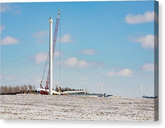 Jibbing Canvas Print - Turbine Construction by Todd Klassy